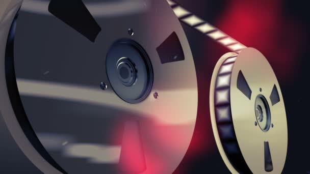 eine herrliche 3D-Wiedergabe von zwei Retro-Rollen, die in Profil gesetzt wurden, wobei sich der Filmstreifen langsam bewegt. Sie sind im schwarzen Hintergrund mit roten Flecken platziert und erzeugen die Stimmung alter Kinematografie.