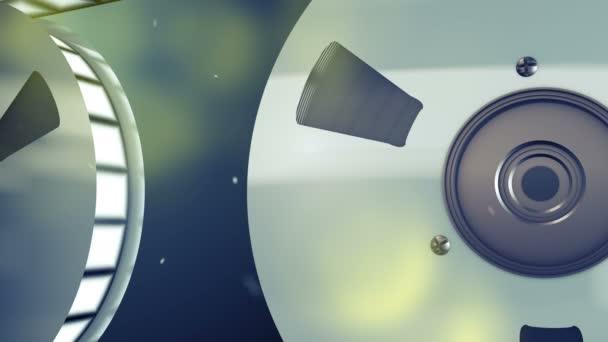 3D Rendering von zwei Retro-Walzen platziert im Profil mit hoher Qualität Filmstreifen rollt langsam. Sie sind in den grauen Hintergrund mit gelben verschwommene Flecken drehen und die Stimmung der Nostalgie zu erstellen