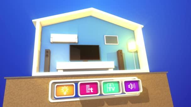 Legrační 3d vykreslování inteligentních domů concept s plazmovou Tv, velké obdélníkové reproduktory, stojací lampa, bílá dřevěná postel, klimatizaci a čtyři hračku vypadající ikony se symboly.