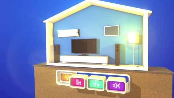 Optimistické 3d ztvárnění přepínání inteligentních domů sekce s plazmovou Tv, velké obdélníkové reproduktory, stojací lampa, bílá dřevěná postel, klimatizaci a čtyři tlačítka s příznaky.