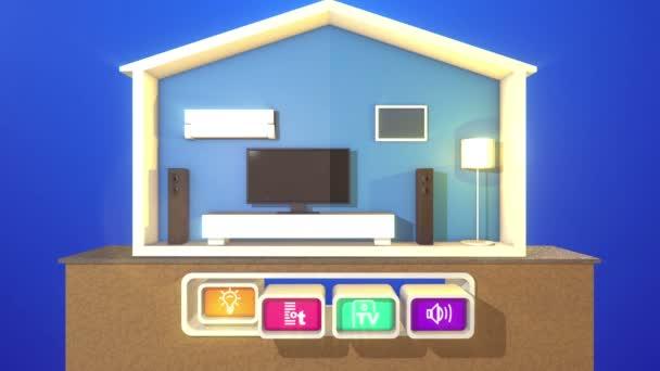 Povedený 3d vykreslování obrátil na inteligentních domů sekce s pracovní plazma Tv, Velké reproduktory, klasické stojací lampa, bílá moderní postel, klimatizaci a čtyři ikony se symboly.