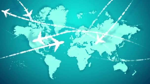 Veselá 3d vykreslování bílého letadla letící podle křivky trasy označen přerušovanou čarou nad mapou světle modrého světa. Vytvářejí náladu inovací a dynamiky.