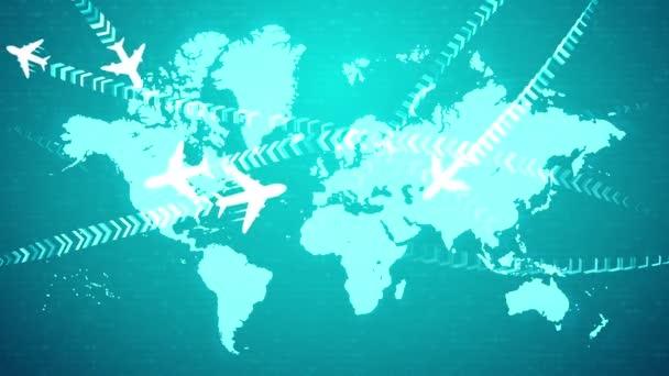 eine optimistische 3D-Darstellung weißer Flugzeuge, die nach welligen Routen fliegen, die mit Klammerreihen über der hellblauen Weltkarte markiert sind. sie bilden die Stimmung des Vertrauens und des Fortschritts