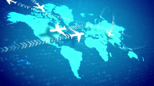 A wonderful 3d rendering of white airplanes flying along the routes marked with rows of brackets over the light blue world map placed askew. They inspire the mood of optimism and success.