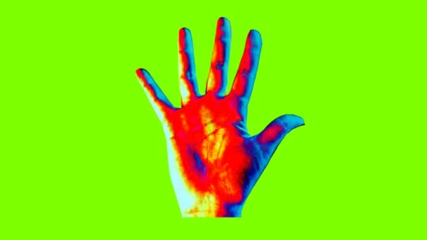 An amazing 3d rendering of a human hand showing a high five gesture in the multicolored background changing its colors every second. The image creates the mood of art and optimism.