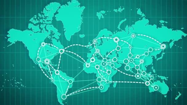Unimpressionante rappresentazione 3d di un programma di mondo astratto collegamento di grandi città, contrassegnato con piccoli cerchi, con linee bianche imposti su griglia rettangolare sullo sfondo verde e blu in movimento