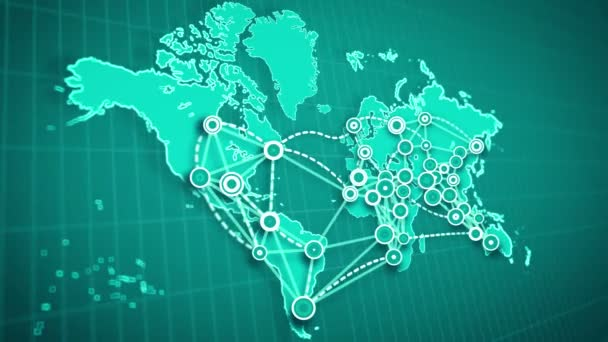 A hi-tech 3d rendering of an abstract world map linking big cities, marked with small rounds, with moving and broken white lines placed on rectangular grid in the jungle green background.