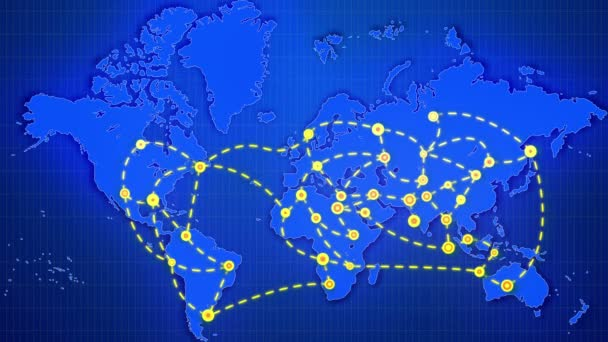 Koyu mavi arka plan dikdörtgen ızgara yerleştirilmiş beyaz çizgiler hareket ile glitzy mermi ile işaretlenmiş bir soyut dünya haritası büyük sarı şehirler, bağlama gösterişli bir 3d render.