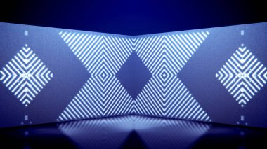 An opt art 3d illustration of neon tunnel movement of white lines and squares playing kaleidoscopic games in the blue background. They form square figures from white lines and look funny