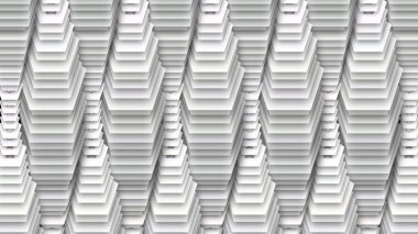 An op art 3d illustration of abstract white drop decoration with aimed down pentagons of different sizes with holes in centers shaping lengthy tubes thick in the middle and thin in the ends.