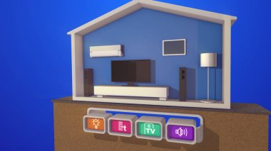 A wonderful 3d illustration of a turned on floor lamp in a smart home section with a black plasma TV, large speakers,  classic floor lamp, white modern bed, air conditioner  and four icons.