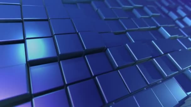 An exciting 3d rendering of dark blue cubes and rectangles lit with shining side sun rays. They form a flat background resembling a computer keyboard placed diagonally.