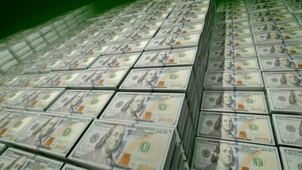 Ohromující 3d vykreslování 100 dolarové bankovky v balení velké banky depozitáře. Na pozorování bankovek jsou fotky otce vědec Benjamin Franklin, bezešvé smyčky.