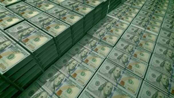Fantastické 3d vykreslování 100 dolarové bankovky umístěny v baleních v depozitáři velké banky. Na pozorování bankovek jsou obrazy vědec otec Benjamin Franklin, bezešvé smyčky.