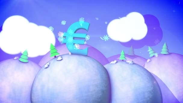 A celebratory 3d rendering of a sunny winter landscape with snowy hills, fir trees, white meadows, spinning snowflakes and blue sky with fluffy clouds, big euro symbol in seamless loops.