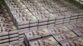 Ohromující 3d ilustrace 100 dolarové bankovky umístěny ve svazcích ve velké bezpečné depozitáře. Na pozorování nádherné bankovek jsou obrazy Diplomat otec Benjamin Franklin