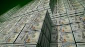 Výrazný 3d ilustrace 100 dolarové bankovky do svazků v depozitáři velké banky. Na pozorování slavného poukázky jsou fotky otce vědec Benjamin Franklin