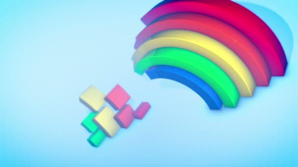 A jolly 3d rendering of two rainbow arches appearing and dissapearing in spiral ways in the celeste background. They generate the mood of fun and spring in seamless loop.