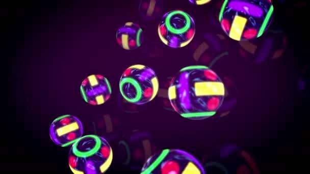 Ohromující 3d vykreslování čtyři pruhy barevné kulečník koule na rovném povrchu umístěny diagonálně v růžové pozadí v bezešvé smyčka. Utvářejí náladu novinka, zábavy a optimismu.