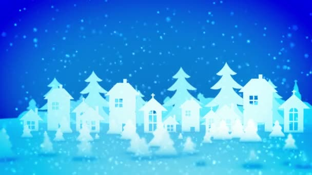 Cheery 3d rendering of Christmas paper houses and fir trees turning right and left under heavy snow storm from lovely snowflakes. They create the mood of celebration, fun and optimism.