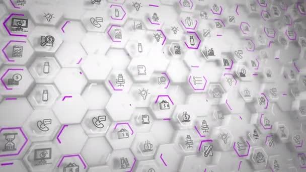 Beeindruckende 3D-Rendering Geschäft Sechsecke mit Computer Anzeichen von Kaffee, Telefon, SMS mit einander verbunden und Schraubeinsätze bewegt sich in dem grauen Hintergrund in nahtlose Schleife