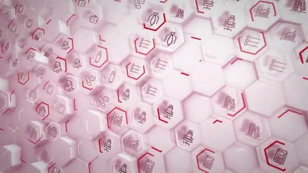 flammendes 3D-Rendering von Business-Sechsecken mit PC-Symbolen von Klammern, Bildschirmen, Sanduhren, die miteinander verbunden sind und lila Linien im rosafarbenen Hintergrund in nahtloser Schleife haben.