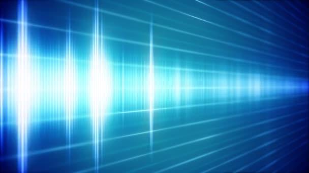 Onda sonora digitale blu in vista prospettica