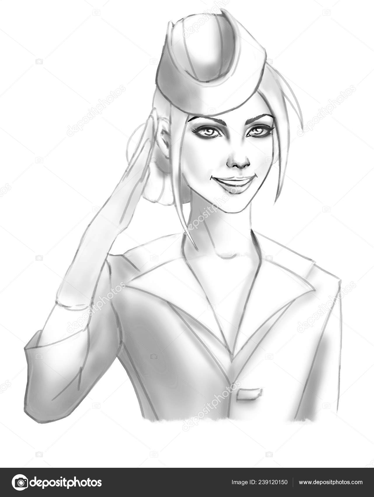 Female cartoon drawing young beautiful comic cartoon