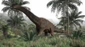 Photo 3d rendering of the walking alamosaurus dinosaur