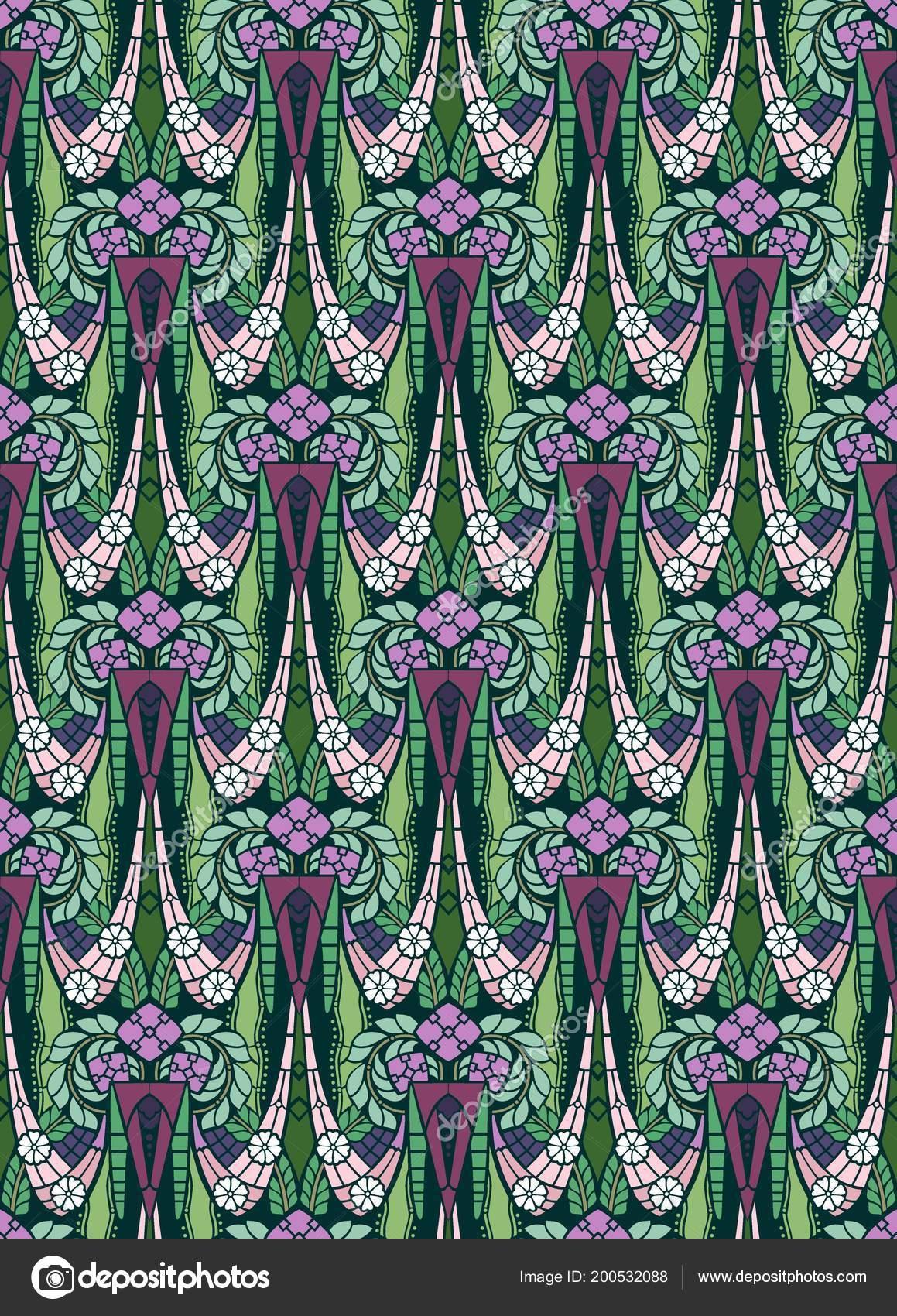 Early Art Deco Style Wallpaper Purple Green Stock Photo