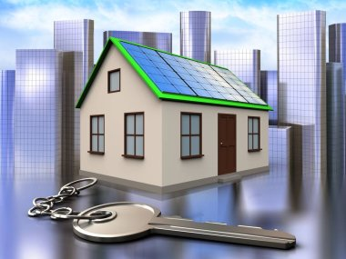 3d illustration of home with solar panels with key over city background stock vector