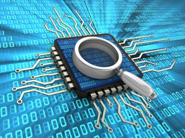 3d illustration of computer chip with magnify glass and binary code inside over digital background