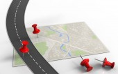 3d illustration of bright map with red pins and road isolated on white background