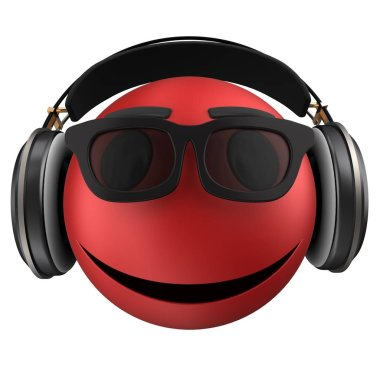 3d illustration of red emoticon smile with black headphones isolated on white background