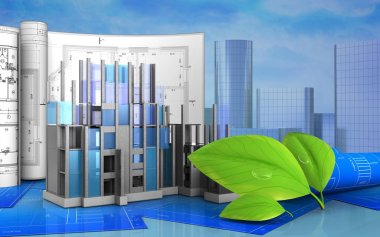 3d illustration of construction progress with drawings and green leaves over skyscrappers background