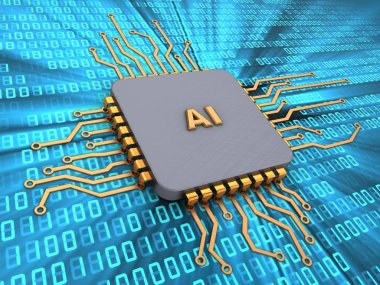 3d illustration of microchip with AI sign over digital background