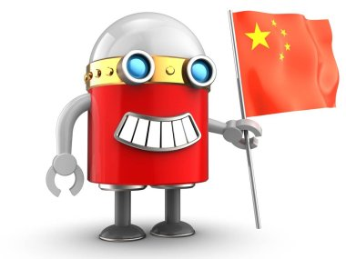robot with china flag over white background