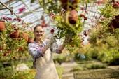Csinos, fiatal nő, a tavaszi virágok a az üvegházhatást okozó működik