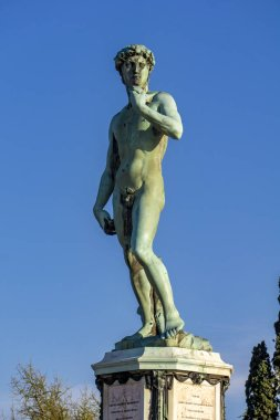 View at statue of David by Michelangelo at Piazza Michelangelo in Florence, Italy