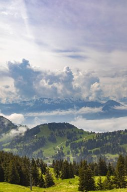 View to Swiss Alps from Rigi Kulm in Switzerland