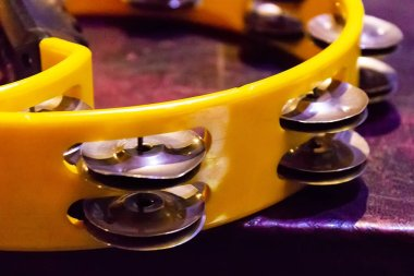 Closeup detail of the tambourine percussion instrument