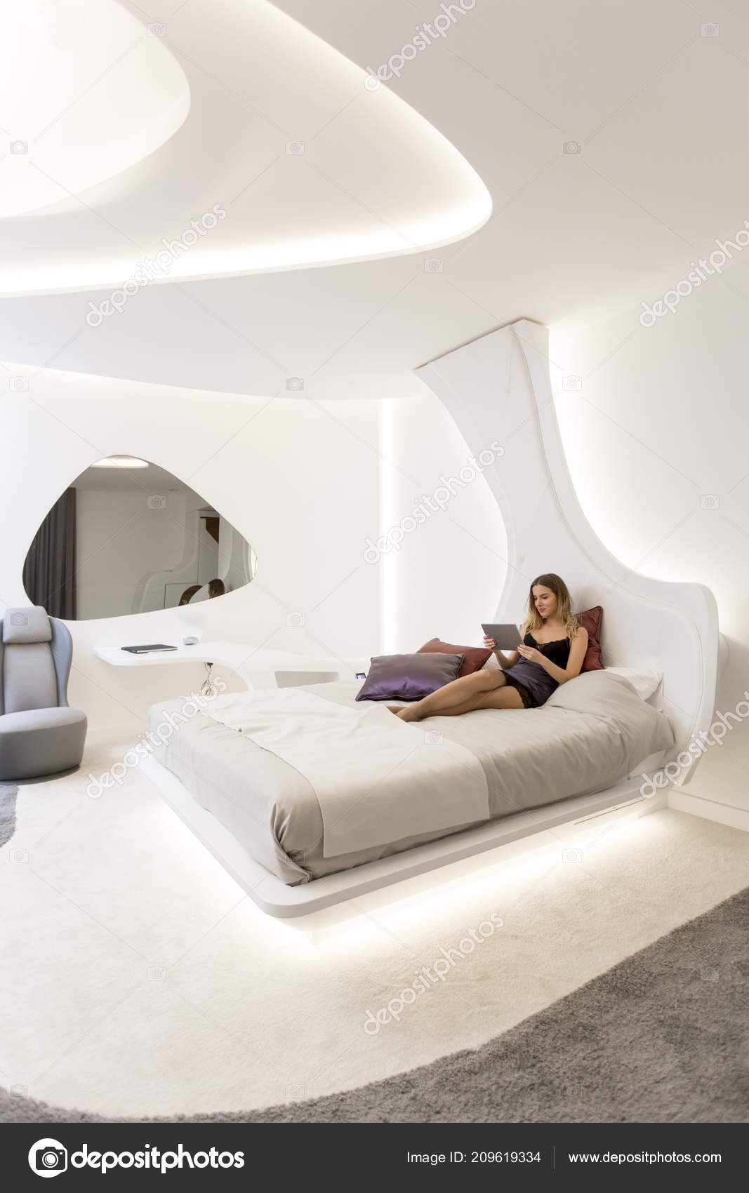 Young Woman Dress Using Digital Tablet Modern Futuristic Bedroom U2014 Stock  Photo