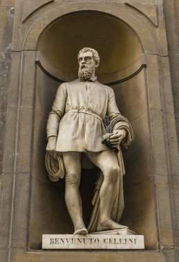 View at Benvenuto Cellini monument in Florence, Italy