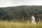 Fotografie Mladá těhotná žena relaxační venku v přírodě v letním dni