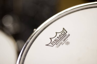 BELGRADE, SERBIA - JULY 23, 2018: Detail of the Remo Instruments drum. Remo Inc. is an American  percussion instrument company, founde dat 1957.