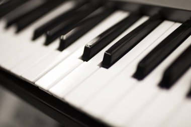 Close up view at piano keyboard