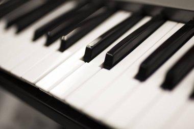 Close up view at piano keyboard