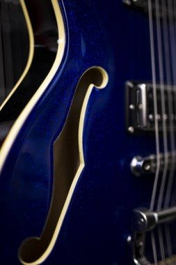 Close up detail of the electric guitar