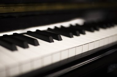 Close up detail of the piano keyboard