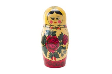 Russian nesting doll, matryoshka isolated on the white background